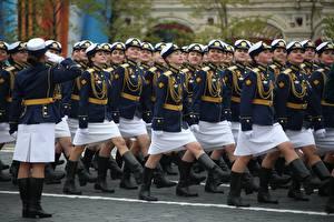 Hintergrundbilder Tag des Sieges 9 Mai Militärparade Russischer Kursant Mädchens