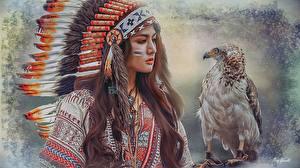 Hintergrundbilder Warbonnet Vögel Gezeichnet Indianer Schön Mädchens
