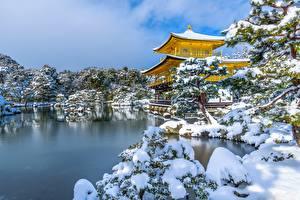壁纸、、冬、パゴダ、池、日本、雪、Kyoko-chi Pond, Kinkaku-ji, Golden Pavilion、自然