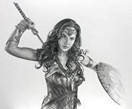 Wallpaper Wonder Woman hero Wonder Woman (2017 film) Painting Art Gal Gadot Warriors Black and white Shield Movies Girls Celebrities