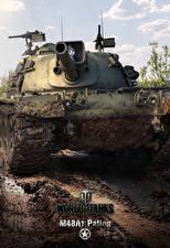 Papel de Parede Desktop WOT Tanque Americanos M48A1 Patton, for Smartphones