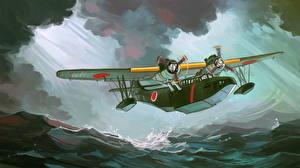 Hintergrundbilder Flugzeuge Gezeichnet Wasserflugzeug Japanisches Starten Aichi H9A Luftfahrt