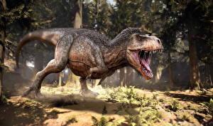 Fonds d'écran Anciens animaux Dinosaure Tyrannosaurus rex Rictus Animaux 3D_Graphiques