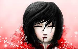 Desktop hintergrundbilder Asiaten Kopf Brünette Blut Mila Anime