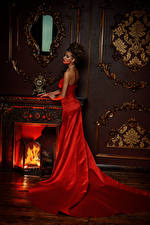 Wallpapers Brown haired Dress Red Fireplace Girls