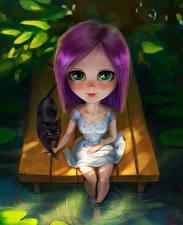 Hintergrundbilder Hauskatze Blick Sitzend Kleine Mädchen Fantasy Kinder