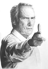Picture Clint Eastwood Black and white White background Glance Hands Celebrities
