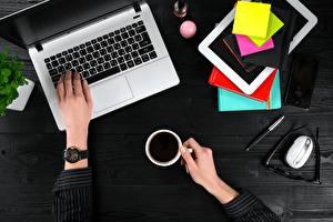 壁纸,,咖啡,筆記型電腦,手,桌子,電腦