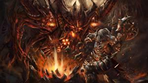 Photo Diablo Warrior Monster Battle axes Arthas, Barbarian vdeo game Fantasy
