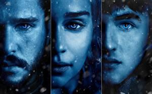 Bilder Emilia Clarke Daenerys Targaryen Game of Thrones Kit Harington Gesicht Blick Season 7, Jon Snow, Azor Ahai Prominente