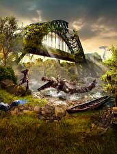 Fotos Horizon Zero Dawn Monsters Krieger Brücken Spiele Fantasy