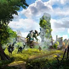Image Horizon Zero Dawn Warriors Robots Games Fantasy