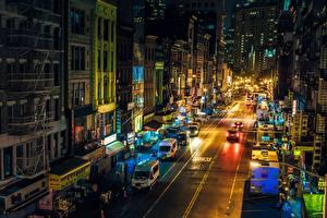 Fotos Gebäude Vereinigte Staaten Nacht Stadtstraße New York City Manhattan Chinatown
