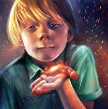 Image Illustrations to books Magic Boys Hands Krapivin, Dovecote on the yellow meadow Fantasy
