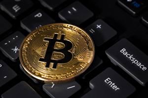 Hintergrundbilder Tastatur Münze Nahaufnahme Bitcoin