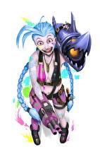 Bilder League of Legends Erstaunen Weißer hintergrund Jinx Spiele Mädchens