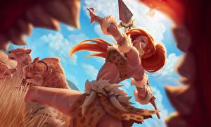 Hintergrundbilder League of Legends Krieger Speer Rotschopf Zähne Nidalee Spiele Mädchens Fantasy
