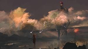 Wallpaper Sorcery Giant (mythology) Armour Spear Priestess of mars