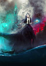 Pictures Magic Water Boats Gown Mage Staff Fantasy Girls