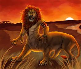 Wallpapers Magical animals Lion Angry Fantasy