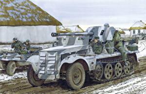Hintergrundbilder Waffe Gezeichnet Deutsch 5cm PaK 38 (Sf) auf Zugkraftwagen 1t Heer