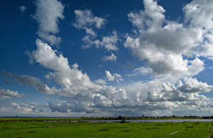 Wallpapers Netherlands Meadow Sky Clouds Marken Nature