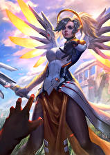 Wallpaper Overwatch Angels Mercy Games Girls Fantasy