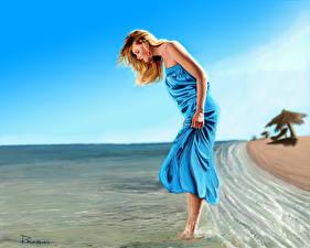 Wallpapers Painting Art Coast Water Blonde girl Dress female