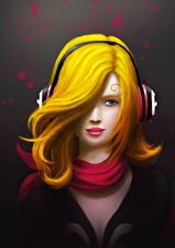 Bilder Gezeichnet Haar Kopfhörer Schal junge Frauen