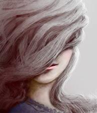 Fotos Gezeichnet Kopf Haar junge frau