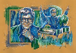 Photo Painting Art Men Elton John Smile Glasses Celebrities
