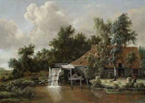 Hintergrundbilder Gemälde Wassermühle Meindert Hobbema, A Watermill