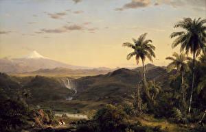 Fotos Malerei Gebirge Landschaftsfotografie Palmengewächse Frederic Edwin Church, Cotopaxi