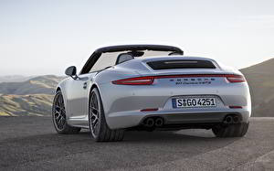 Pictures Porsche Back view Convertible White 911 Carrera 4 GTS Cars