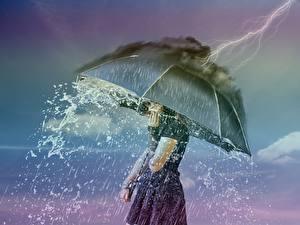 Bilder Regen Naturkraft Kreativ Regenschirm Blitze
