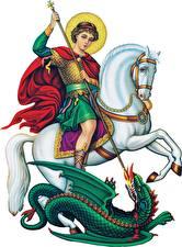 Bureaubladachtergronden Religie Paarden Krijger Draken Een speer Witte achtergrond Saint George