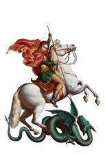 Bureaubladachtergronden Religie Paard Krijgers Een draak Een speer Witte achtergrond Saint George the Victorious