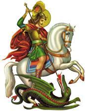Bureaubladachtergronden Religie Krijger Draken Paarden Een speer Witte achtergrond Saint George