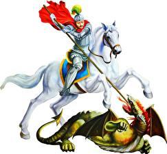 Bureaubladachtergronden Religie Krijgers Paard Een draak Witte achtergrond Een speer St Gorge