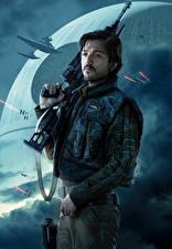 Bakgrundsbilder på skrivbordet Rogue One: A Star Wars Story En man Gevär Cassian Andor (Diego Luna)