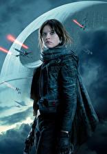 Bakgrundsbilder på skrivbordet Rogue One: A Star Wars Story Krigare Jyn Erso Unga_kvinnor
