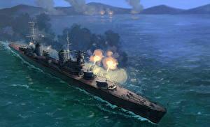 Images Ships Painting Art Firing Russian Cruiser Molotov military