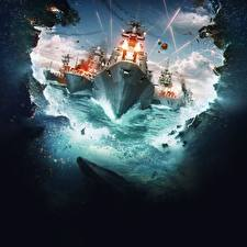 Pictures Ships World Of Warship Firing vdeo game