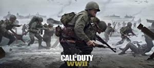 Bilder Soldaten Küste Militär Schutzhelm Gewehr Call of Duty: WWII Krieg Spiele