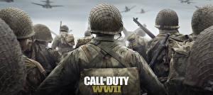 Bilder Soldat Militär Schutzhelm Call of Duty: WWII Hinten Spiele
