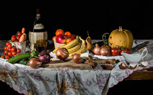 Image Still-life Pumpkin Vegetables Fruit Wine Tomatoes Onion Bananas Apples Bottle Cutting board Food