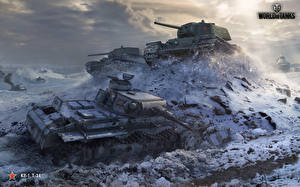 Papel de Parede Desktop Carro de combate T-34 WOT Russo Alemão KV-1, PzKpfw III videojogo