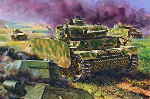 Wallpapers Tanks Painting Art German Pz.Kpfw.III Ausf.M w/Schurzen