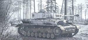 Image Tanks Painting Art Black and white German PzKpfw IV