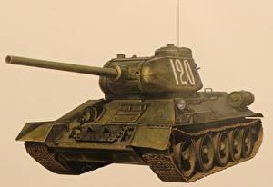 Bilder Panzer Gezeichnet T-34 Russische Farbigen hintergrund